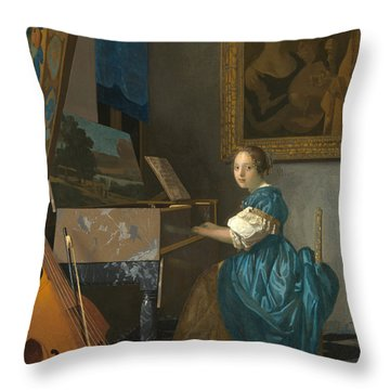 Lady Seated At A Virginal Throw Pillow