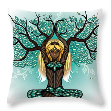 Lady Shaman Tree Throw Pillow