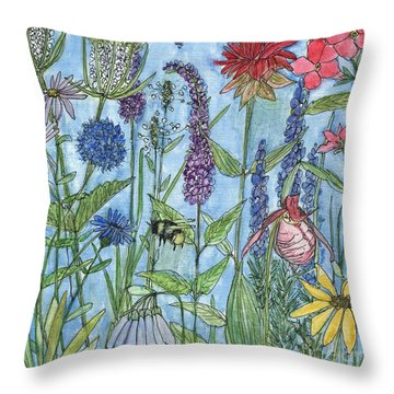 Lady Slipper In My Garden  Throw Pillow