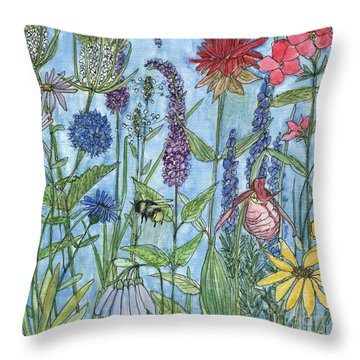Throw Pillow featuring the painting Lady Slipper In My Garden  by Laurie Rohner
