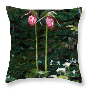 Throw Pillow featuring the painting Lady Slipper by Lynne Reichhart
