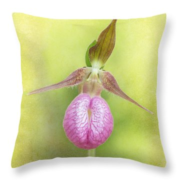 Lady Slipper Orchid Fantasy Throw Pillow