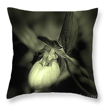 Lady Slipper Orchid Flower Throw Pillow