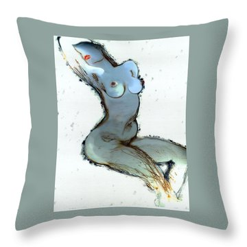 Throw Pillow featuring the painting Lady Sophia - Female Nude by Carolyn Weltman