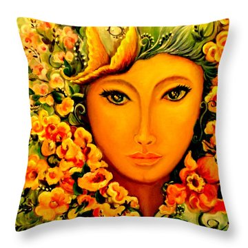 Lady Sring Throw Pillow by Yolanda Rodriguez