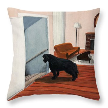 Lady Stares Down The Big Stairs Throw Pillow