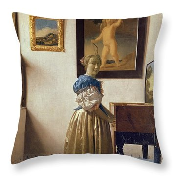 Lady Standing At The Virginal Throw Pillow by Jan Vermeer