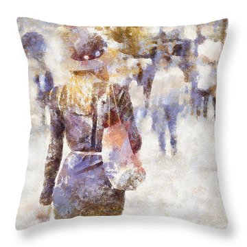 Lady Walking Throw Pillow by Shirley Stalter