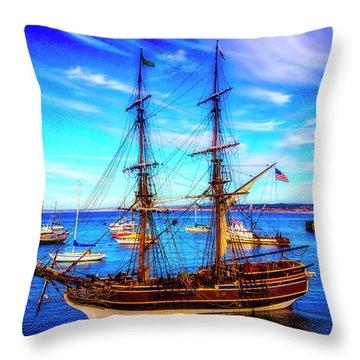 Lady Washington In Monterey Bay Throw Pillow