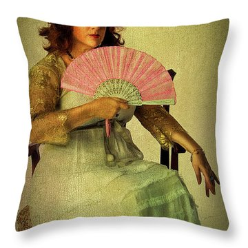 Lady With A Fan Throw Pillow
