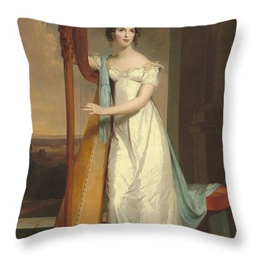 Lady With A Harp Throw Pillow