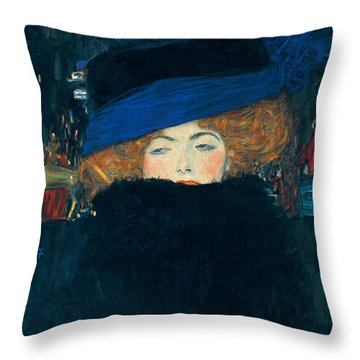 Lady With A Hat And A Feather Boa Throw Pillow by Gustav Klimt