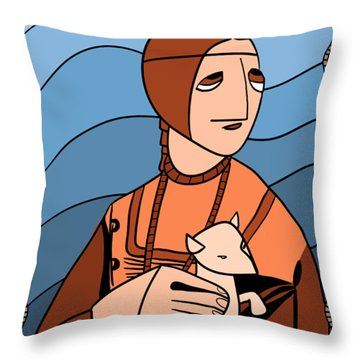 Lady With An Ermine By Piotr Throw Pillow