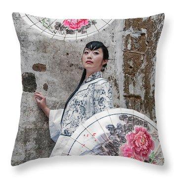 Lady With An Umbrella. Throw Pillow