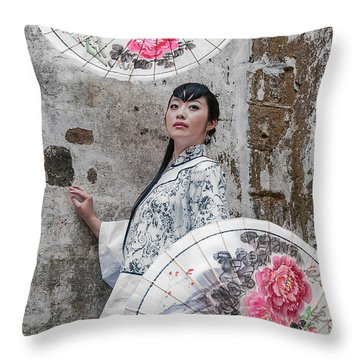 Lady With An Umbrella. Throw Pillow