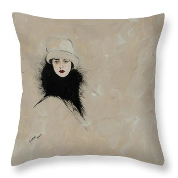 Lady With Black Fur Throw Pillow