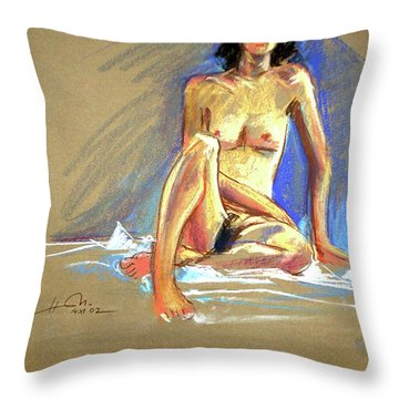 Lady With Blue Throw Pillow