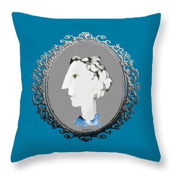 Lady With Blue Scarf Throw Pillow