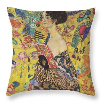 Lady With Fan Throw Pillow