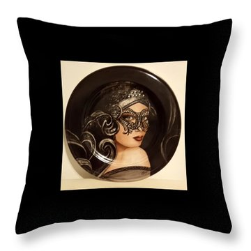 Lady With Mask Throw Pillow