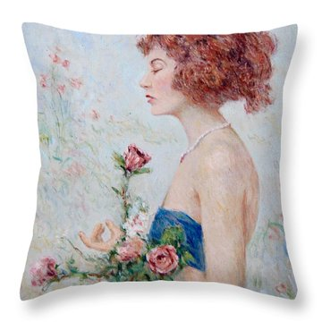 Lady With Roses  Throw Pillow