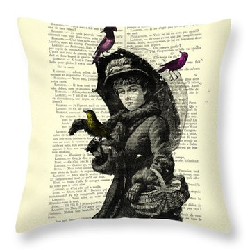 Lady With Umbrella In Winter Landscape Print On Old Book Page Throw Pillow