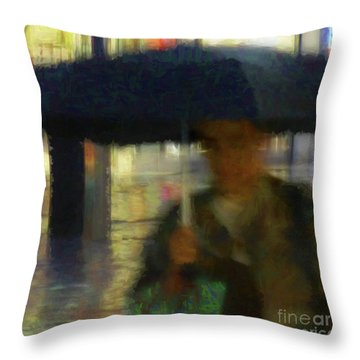 Lady With Umbrella Throw Pillow