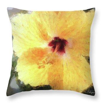Lady Yellow Throw Pillow