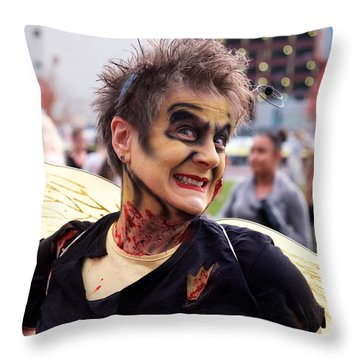 Lady Zombee Throw Pillow by Vinnie Oakes