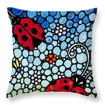 Ladybug Art - Joyous Ladies 2 - Sharon Cummings Throw Pillow