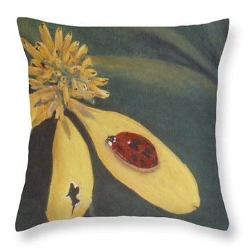 Throw Pillow featuring the painting Ladybug by Betty-Anne McDonald