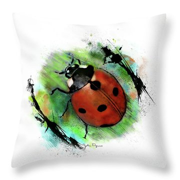 Throw Pillow featuring the drawing Ladybug Drawing by John Dyess
