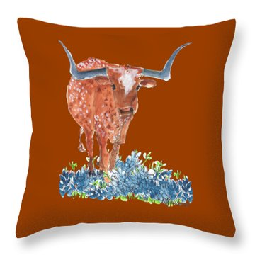 Ladybug In The Bluebonnets Lh002 By Kmcelwaine Throw Pillow