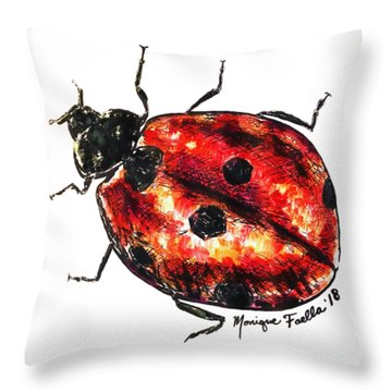 Throw Pillow featuring the painting Ladybug by Monique Faella
