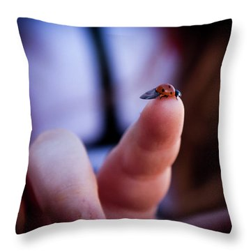 Ladybug On  Finger  Throw Pillow
