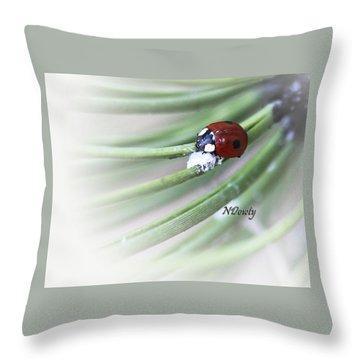 Ladybug On Pine Throw Pillow