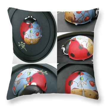 Ladybug On The Half Shell Throw Pillow