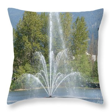 Throw Pillow featuring the painting Lafarge Lake Fountain by Rod Jellison
