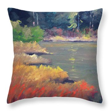 Throw Pillow featuring the painting Lagoon by Nancy Merkle