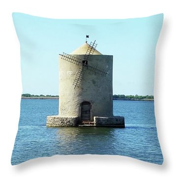 Throw Pillow featuring the digital art Lagoon Of Orbetello by Joseph Hendrix