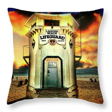 Laguna Beach Lifeguard Hq Throw Pillow