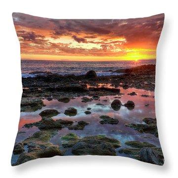 Laguna Beach Tidepools At Sunset Throw Pillow