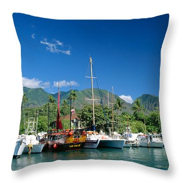 Lahaina Harbor - Maui Throw Pillow by William Waterfall - Printscapes