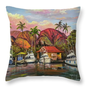 Lahaina Harbor Sunset Throw Pillow