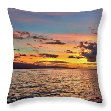 Lahaina Sunset Panorama Throw Pillow