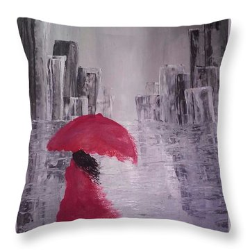 Throw Pillow featuring the painting Laidy In The City Abstract Art by Sheila Mcdonald