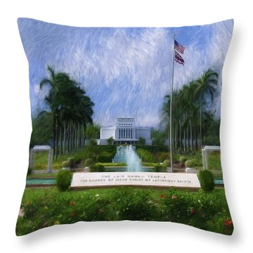 Throw Pillow featuring the painting Laie Hawaii Temple by Geoffrey C Lewis