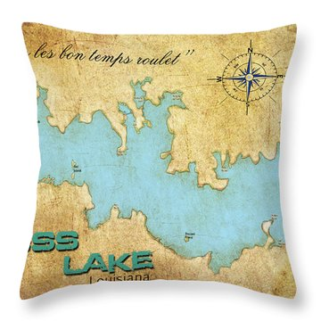 Throw Pillow featuring the digital art Laissez Les Bon Temps Roulet - Cross Lake, La by Greg Sharpe