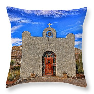 Lajitas Chapel Painted Throw Pillow by Judy Vincent