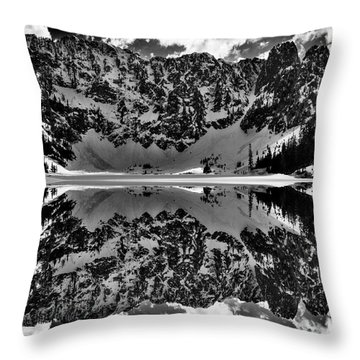 Lake 22 Winter Black And White Reflection Throw Pillow